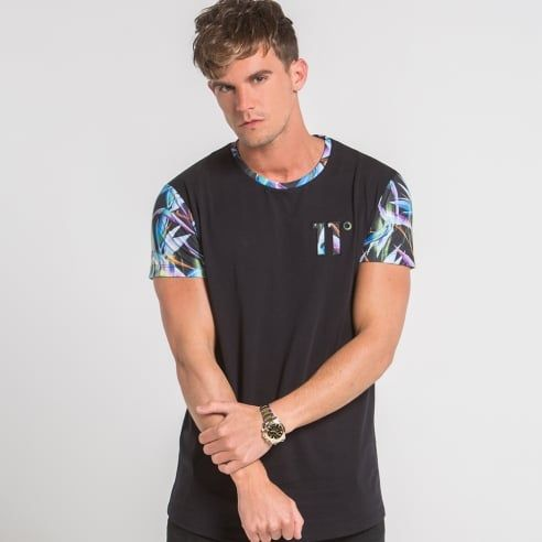 Exotic Smudge Sleeve Print Tee - Black - 11 Degrees from Eleven Degrees UK