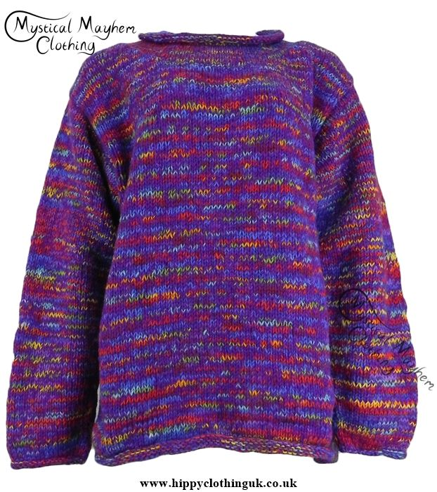 Gringo Purple Multicoloured Nepalese Wool Jumper