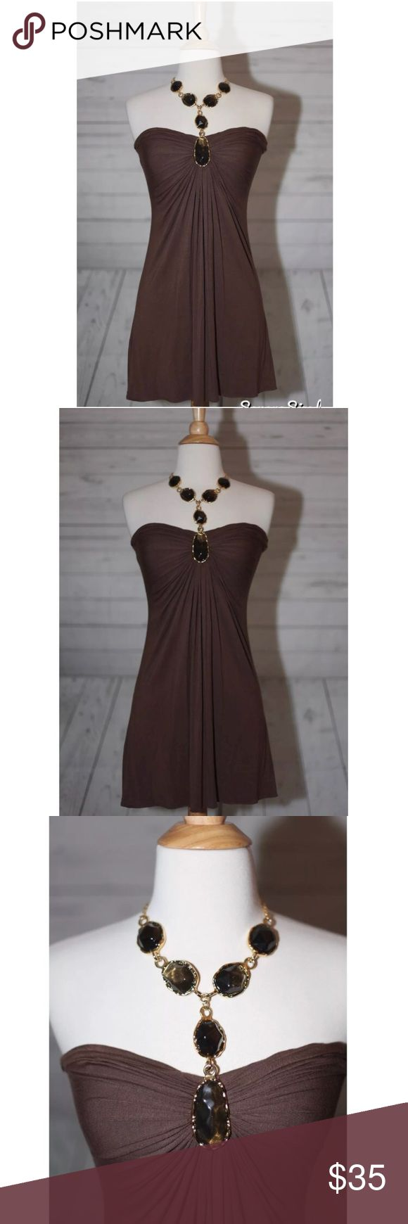 """SKY Sz S, Small """"Stone"""" Halter Brown Mini Dress SKY Sz S, Small """"Stone"""" Gold Chain Halter Brown Ruched Mini Dress  Measurements -  Bust: 13.5"""" (measured armpit to armpit flat across front laying flat down)  Length: 30"""" (mini)  Condition: Excellent! No stains, tears or snags. Sky Dresses Mini"""