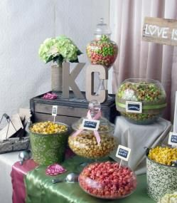 Rustic pink and green popcorn bar for a wedding. #wedding #popcorn #bar #buffet #rustic #shabbychic #vintage #theme