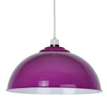 Modern Gloss Purple Metal Dome Ceiling Pendant Light Shade: Amazon.co.uk: Lighting