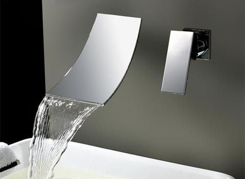 Waterfall Widespread Contemporary Bathroom Faucet (Chrome Finish) Silver Color Hot and Cold Water Mixer Basin Tap
