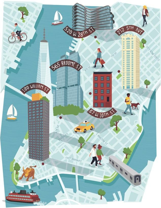 Downtown Nyc Map Illustration For The Wall Street Journal Www