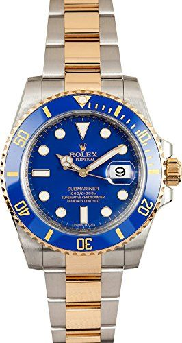 Rolex Submariner Stainless Steel Yellow Gold Watch Blue C...**Click Image for complete Information**