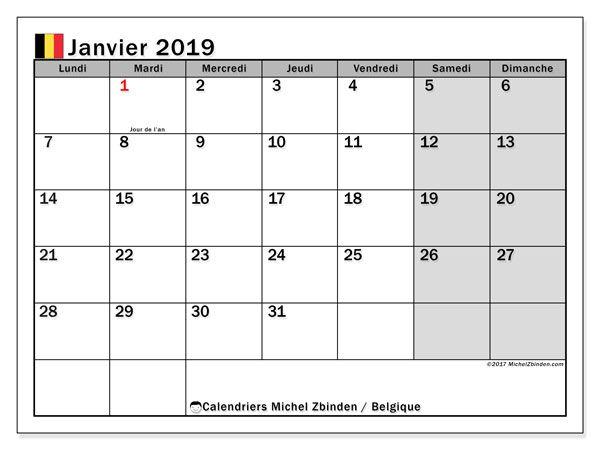 calendrier 2019 avec jours fériés vacances scolaires belgique