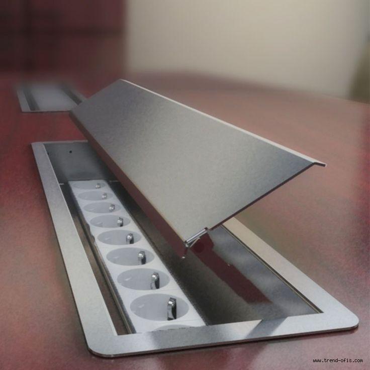 3613 Paslanmaz Toplantı Masası Priz Kasası (Metal Priz Kutusu) 20 modül