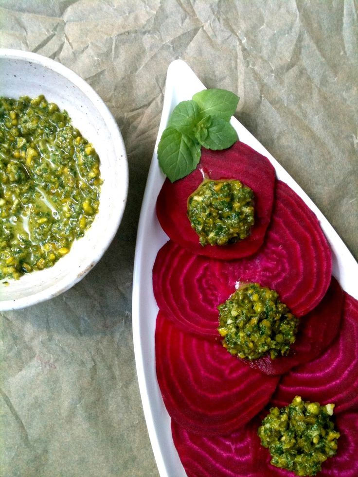 Passionately Raw! - Raw Beet Carpaccio with Mint Pistachio Pesto