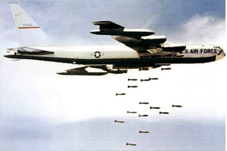 b-52 dropping bombs in operation rolling thunder, 1965-1968 vietnam war
