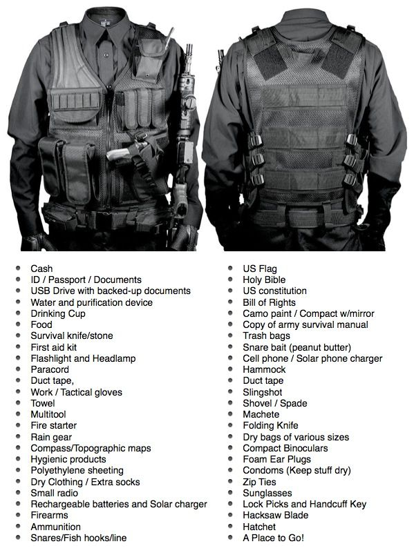 Packing List for your: INCH (I'm Never Coming Home bag), E&E (Escape and Evasion kit), BOB (Bug Out Bag), GHB (Get Home Bag), IDF (Intruder Defense Bag), or Survival Kit Be prepared in case of: Civil Unrest, Hurricane, Invasion, Flood, Zombies, Divorce or general caught with your pants down situation!