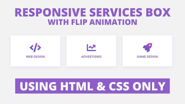 In This Program Responsive Services Box With Flip Animation On The Webpage There Are Three Service Cards Or Boxes With The Icon An Html Css Card Design Css