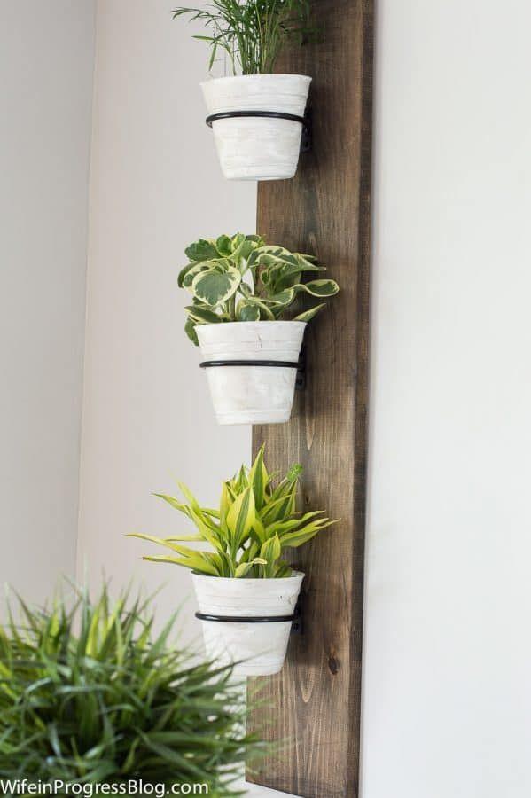 Farmhouse Style Vertical Plant Holder Hanging Wall Vase Shabby
