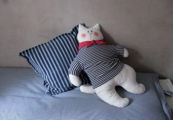Stuffed cat Nautical decor Soft toys cat by ShabbyAnnieCorner