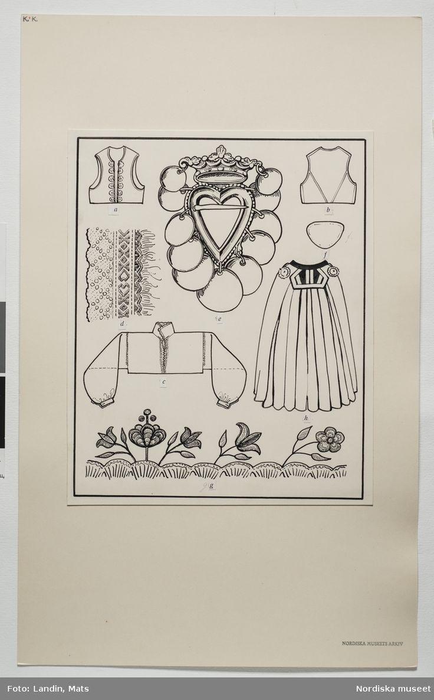 Festdräkt för gift kvinna. Värend, Småland. Teckning av Emelie von Walterstorff…