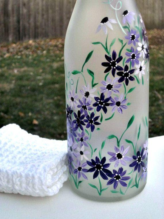 Wine Bottle, Dish Soap Dispenser, Oil & Vinegar Bottle Hand Painted ...