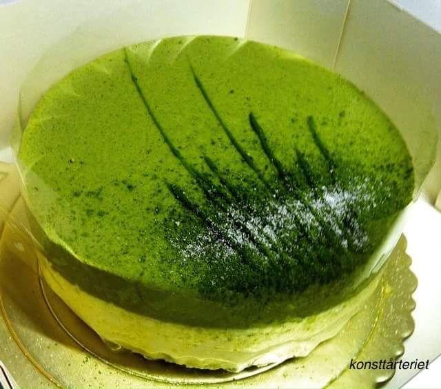 Matcha white choclate mousse cake. Gluten free!