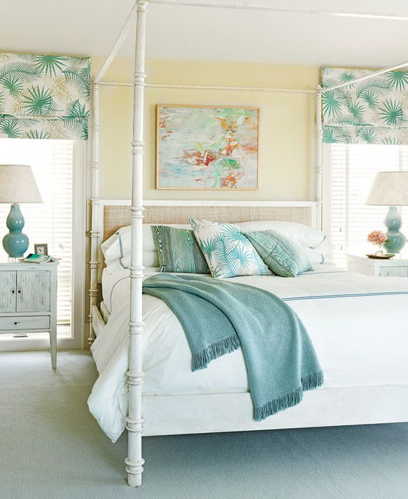 Perfect guest room! Classically Cool Shore House-- never thought to add lighter yellows