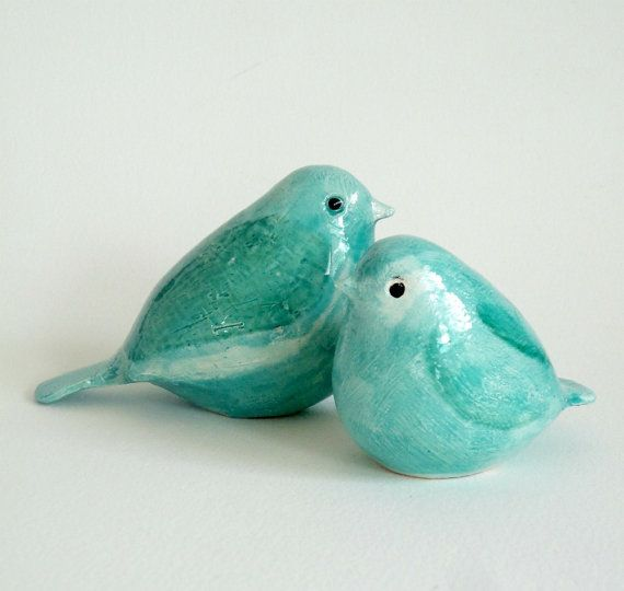 pottery birds aquamarine mother and baby by ecorock on Etsy, $45.00