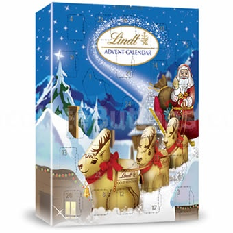 Lindt Advent Calendar, the Lindt Advent Calendar, an advent calendar from Lindt filled with the Finest Swiss milk chocolate.