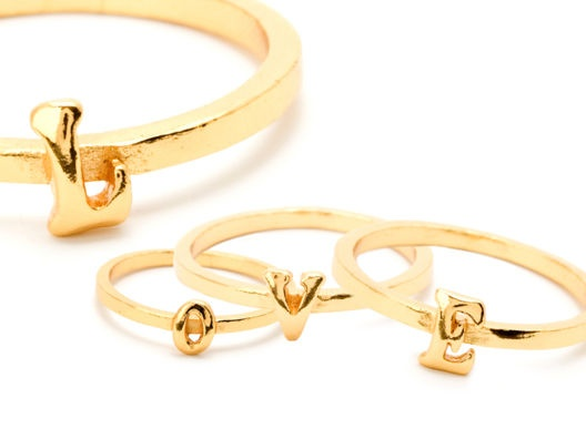 "alphabet rings ""LOVE"""