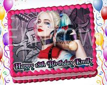 Harley Quinn Suicide Squad Custom Photo Edible Cake Topper Icing Sheet Frosting Cupcake