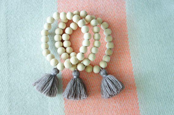 Gray tassel bracelet - Beaded bracelet - wooden ivory beads - bohemian beads - festival bracelet - 1 piece