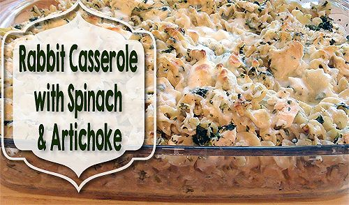Rabbit Casserole Recipe with Spinach & Artichoke - the ease of a casserole, homegrown rabbit meat and a spinach artichoke dip together for one awesome meal!