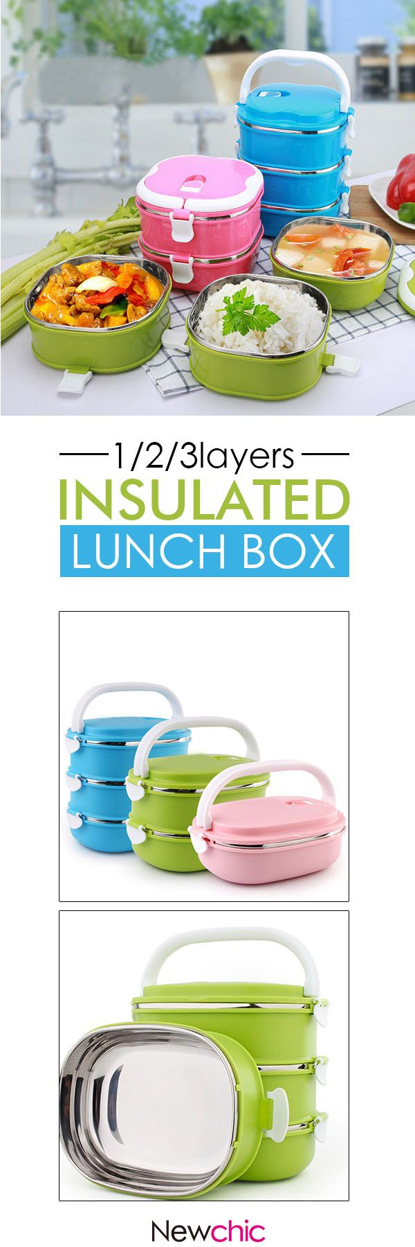 US$7.85 - 1/2/3layers Stainless Steel Insulated Lunch Box Rectangular Student Dinnerware Sets