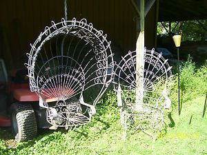 Vintage Large Wrought Iron Peacock Chair Patio Porch Swing Outdoor Furniture