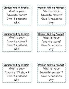 OPINION WRITING PROMPT CARDS - TeachersPayTeachers.com