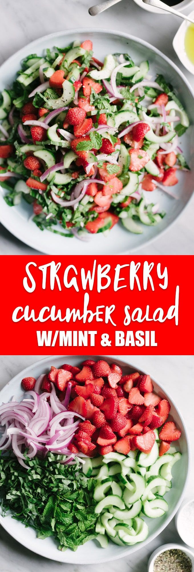 This vegan strawberry cucumber salad is spring produce at its best. Sweet, crispy, crunchy, and so satisfying. #vegan #vegetarian #wholefoods #realfood #raw #paleo