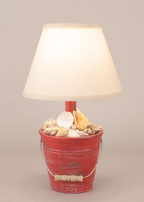 Beach Cottage Red Bucket Shell Lamp-- I can see a gift built along these lines -- imagine sand dollars and starfish and sea fans!