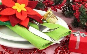 Обои Рождество, Столовые приборы, стол, сервировка