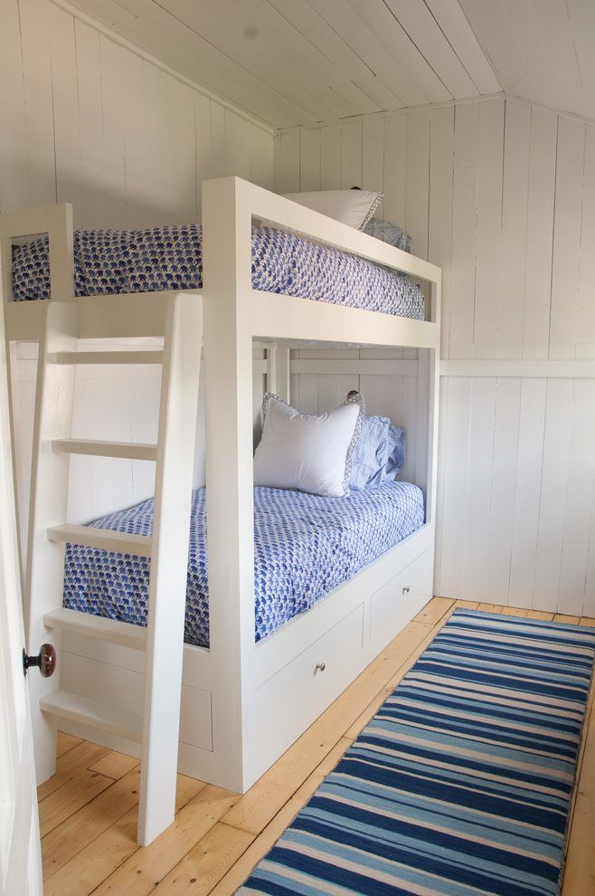 Custom bunk beds kids beach style with exposed wall studs built in bed
