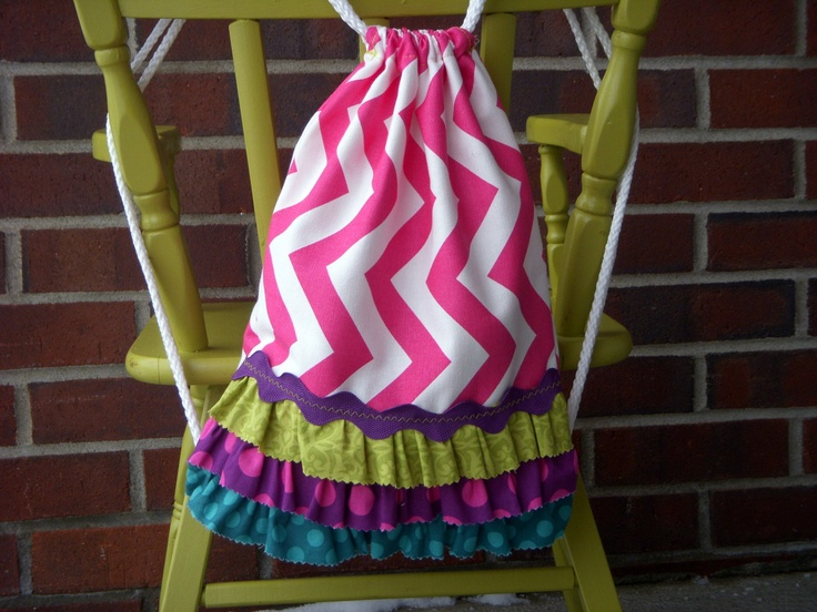 Custom Children's Size Pink Chevron Drawstring Backpack. $18.00, via Etsy.