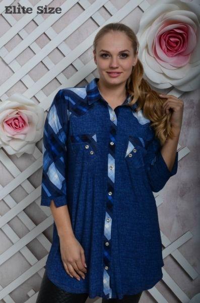 Туника-рубашка женская батал стильная молодежная на пуговицах синий