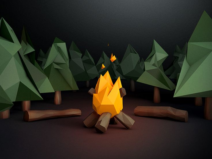 Low poly campfire scene