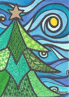 "ACEO pennyfest Zentangle Christmas tree, star, moon, sky - ""season greeting #1"""