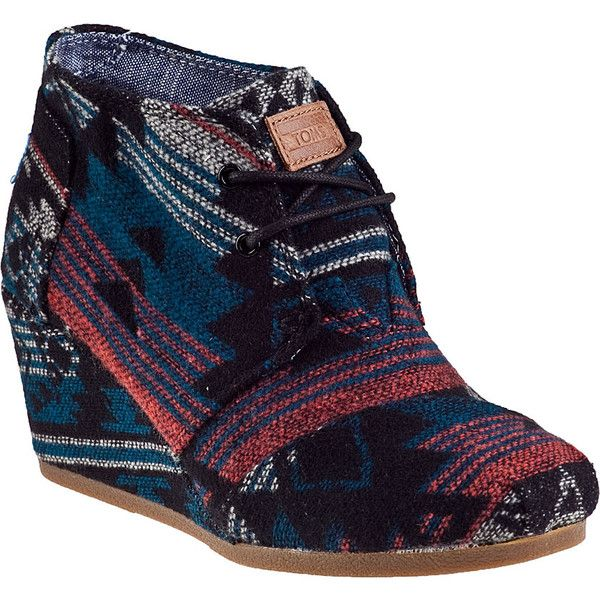 TOMS Desert Wedge Ankle Boot Black Jacquard Fabric (71,545 KRW) ❤ liked on Polyvore featuring shoes, boots, ankle booties, ankle boots, black jacquard fabric, black booties, platform wedge booties, wedge bootie and platform booties