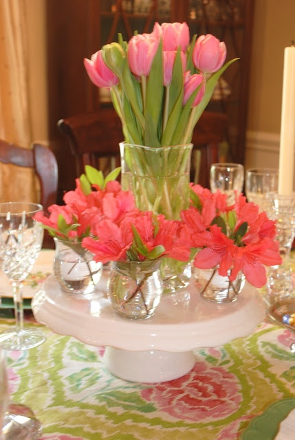 Center piece idea: Use a cake stand for multiple vases ...