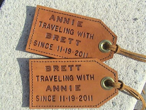 12 Crafty Anniversary Gift Ideas by Year - Love these personalized luggage tags.