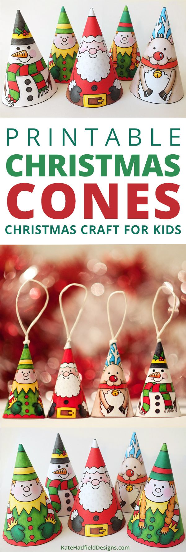 Colour In Christmas Cones - an easy Christmas craft for kids! Just print, cut our and decorate to create these cute cone characters! A fun activity the kids will enjoy each year, you can even add string or ribbon to turn them into tree ornaments!