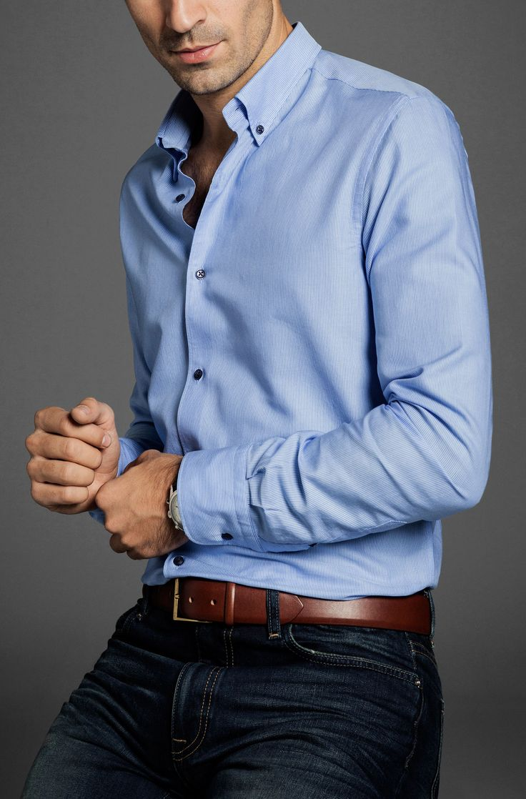 SLIM-FIT SHIRT WITH STRIPES OVER A BLUE BACKGROUND - Essentials - MEN - Switzerland