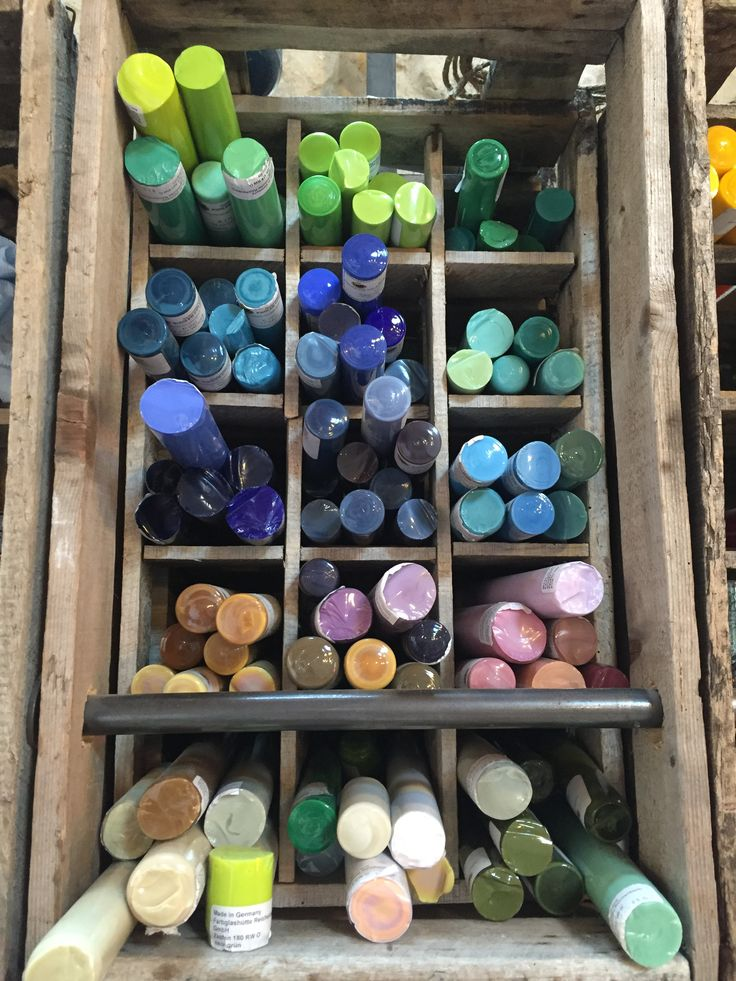 Part of the glassblowers' supply cabinet. Looks like a colourful box of crayons!  Come check us out to decide which colours will be in your wedding palette!