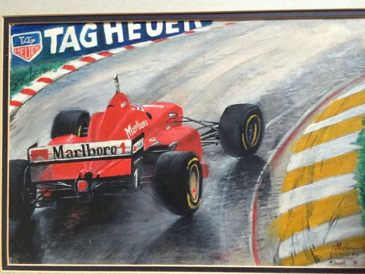 Michael Schumacher, Ferrari F310, Spanish Grand Prix, Barcelona, 1996. Oil on board