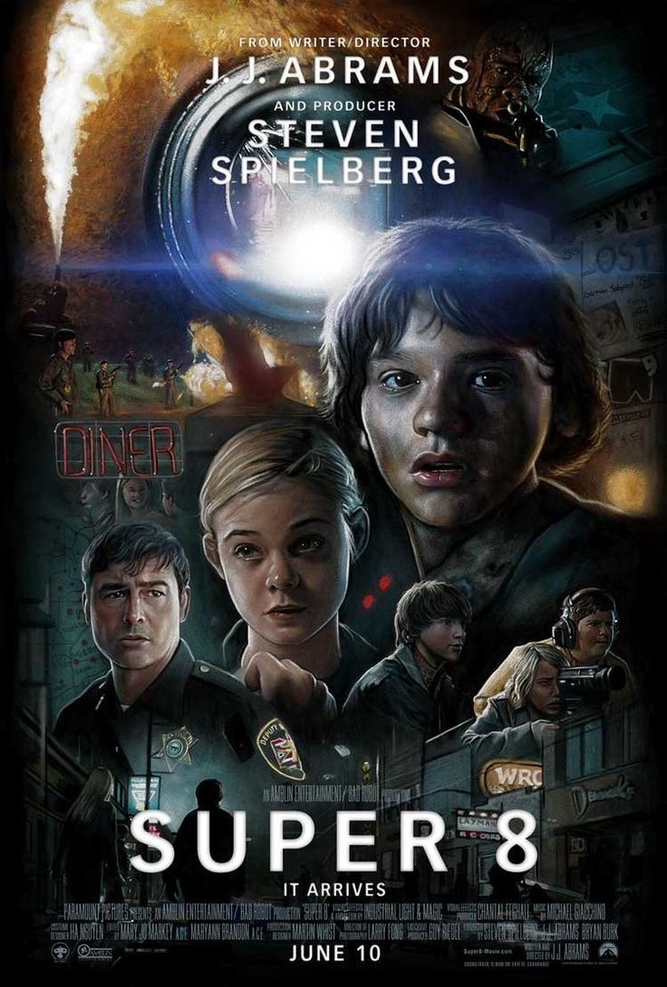 Super 8 is a 2011 American science fiction-thriller film written and directed by J. J. Abrams and produced by Steven Spielberg. The film stars Joel Courtney, Elle Fanning, and Kyle Chandler. The film tells the story of a group of young teenagers who are filming their own Super 8 movie in a small town in 1979 when a train derails, releasing a dangerous presence into their town. The movie was filmed in Weirton, West Virginia and surrounding areas.