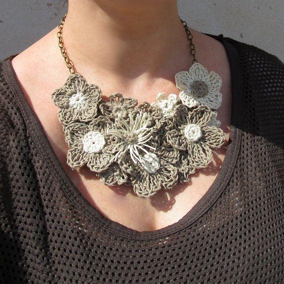 Crochet necklaceflower necklacehemp by GiadaCortellini on Etsy
