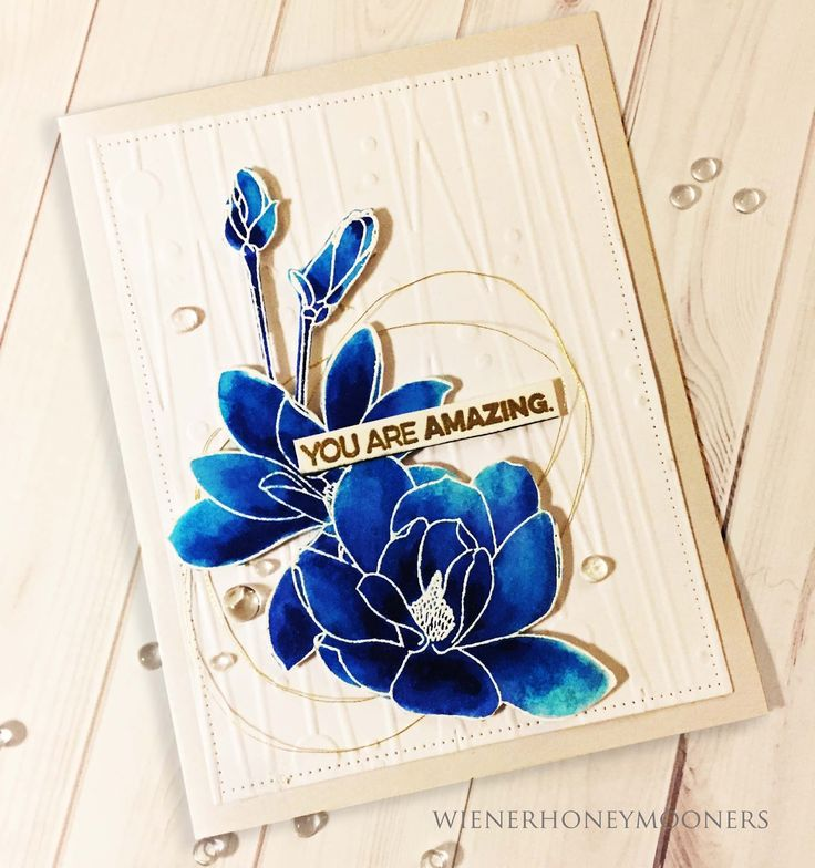 In a BLUE Mood.   Blue with spots of GOLD...   ALTENEW    Magnolia's for Her Stamp Set               Get loveliness here,,( Altenew Magn...