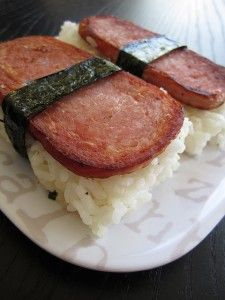 Spam musubi - lol unless you grew up in Hawaii at some point, I don't think you can comprehend the cries of joy that would come forth from students when they would open open their lunchboxes and see that their moms packed them spam musubi, and thus causing all other students to envy them for the rest of the day