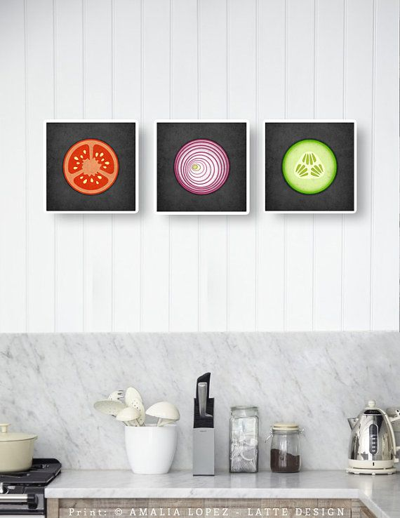 Set of 3 kitchen prints. Vegetables kitchen prints by LatteDesign