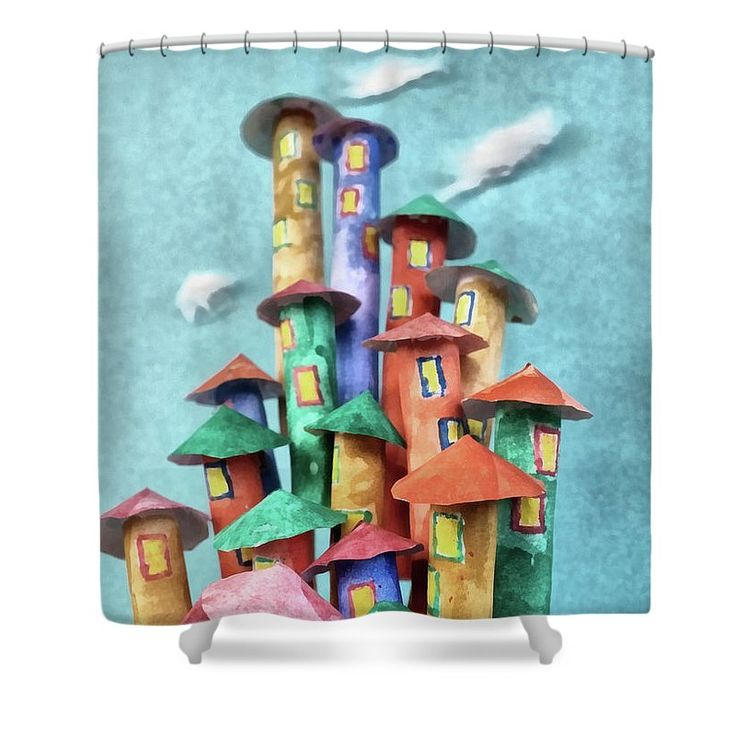 Fairy Shower Curtain featuring the painting Fairy City by Grigorios Moraitis